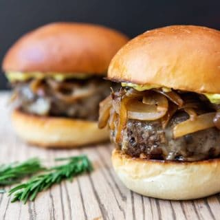 Soy-Glazed Mushroom Swiss Burgers with Caramelized Onions & Rosemary Aioli