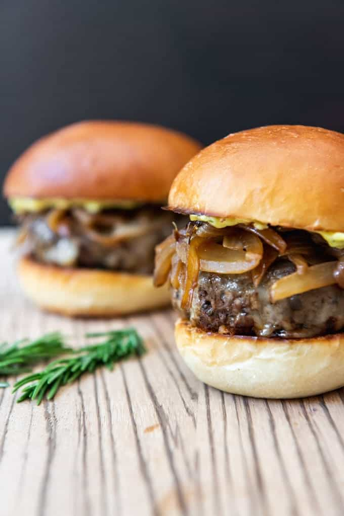 Soy Glazed Mushroom Swiss Burgers With Caramelized Onions Rosemary Aioli House Of Nash Eats