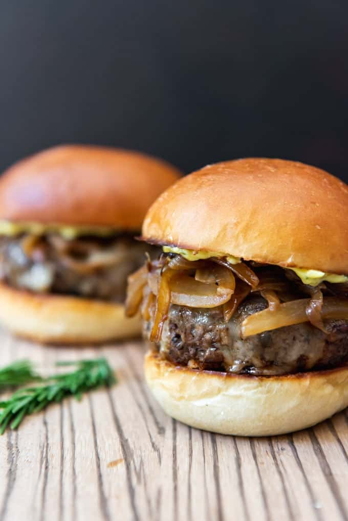 These gourmet burgers are beyond your average backyard BBQ fare.  Soy-Glazed Mushroom Swiss Burgers with Caramelized Onions & Rosemary Aioli are a flavor wallop to the mouth in the best possible way!