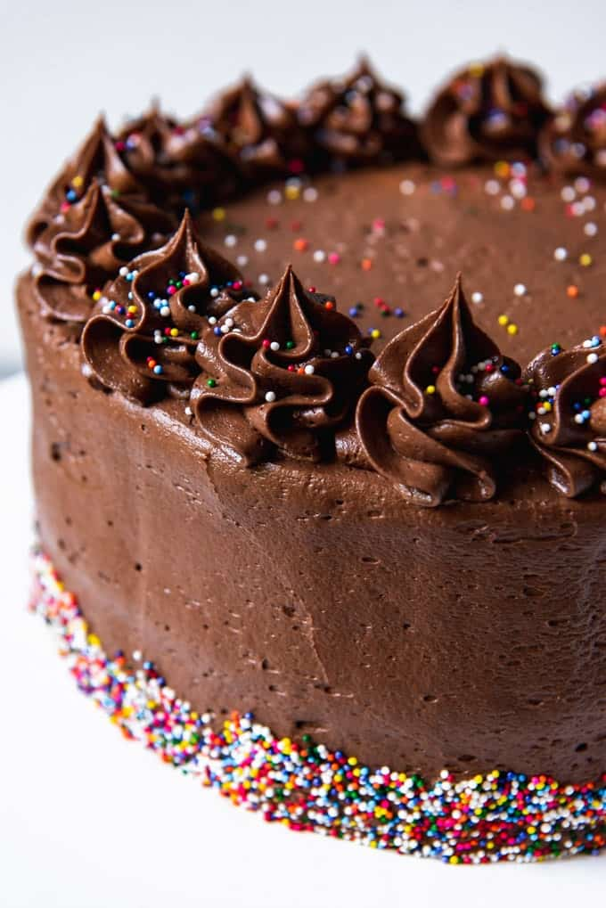 An image of a frosted yellow cake with chocolate buttercream and sprinkles.