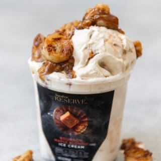 Simple Pan Fried Butterscotch Bananas & Walnuts make an excellent ice cream topping for out of this world ice cream sundaes, especially when paired with an amazing flavor like the new Signature Reserve™ Bourbon Maple Blondie ice cream!