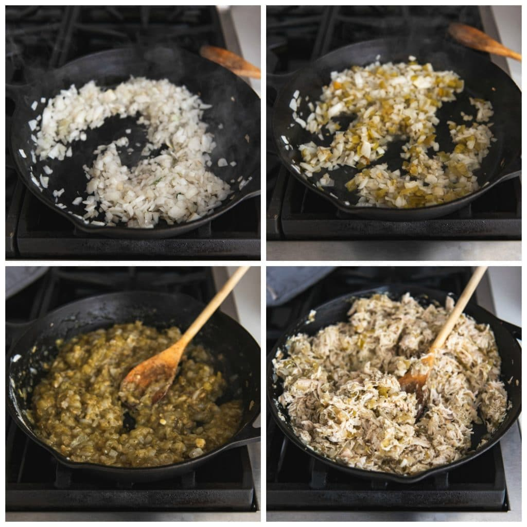 A collage of four images showing the step-by-step process of making green chili chicken filling for authentic chicken chimichangas.
