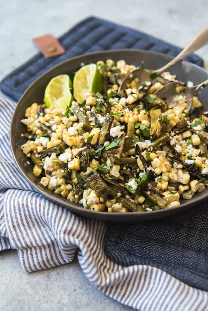 Grilled Cactus and Corn Salad (aka Nopales Salad) is a wonderful, tangy and savory side dish, perfect for grilling and serving at summer barbecues.