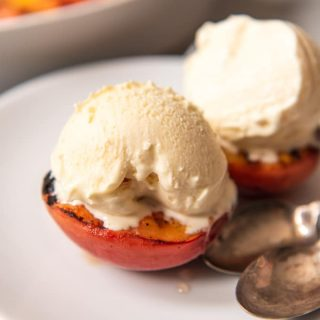 Grilled Peaches with Ice Cream is a perfectly sweet and juicy treat and one of the best summer dessert recipes to use this fantastic fruit from the farmer's market.
