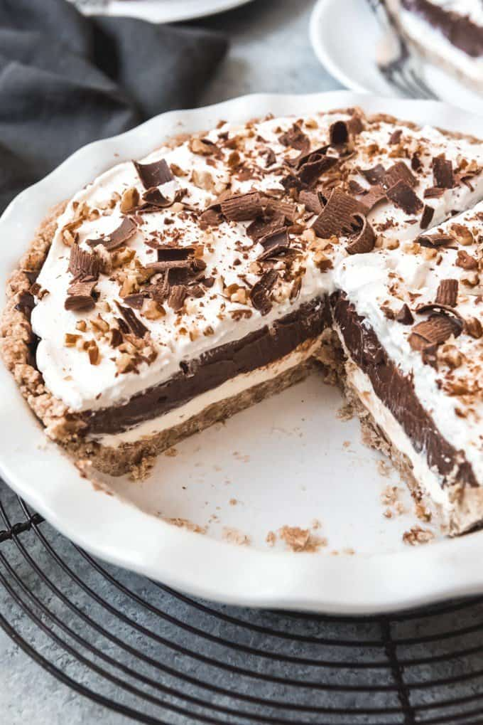 An image of a layered chocolate pie known as possum pie, made from scratch.