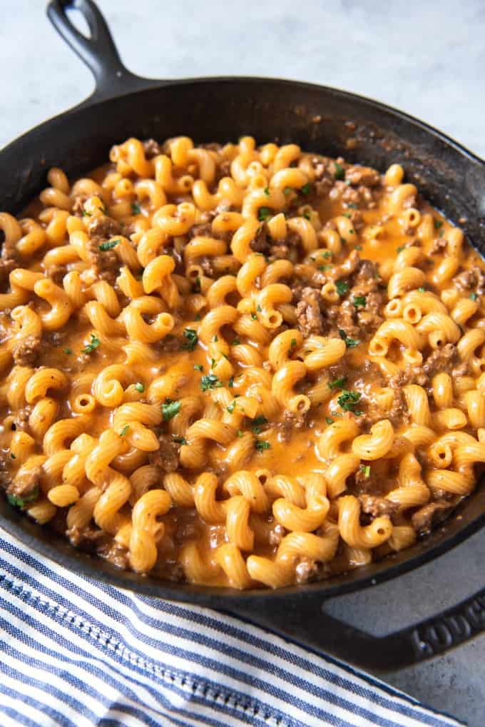 Homemade Hamburger Helper Cheeseburger Pasta Skillet House Of Nash