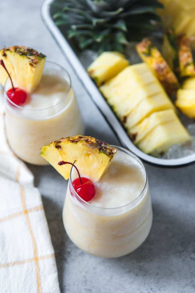 An image of non-alcoholic pina coladas made in a blender.