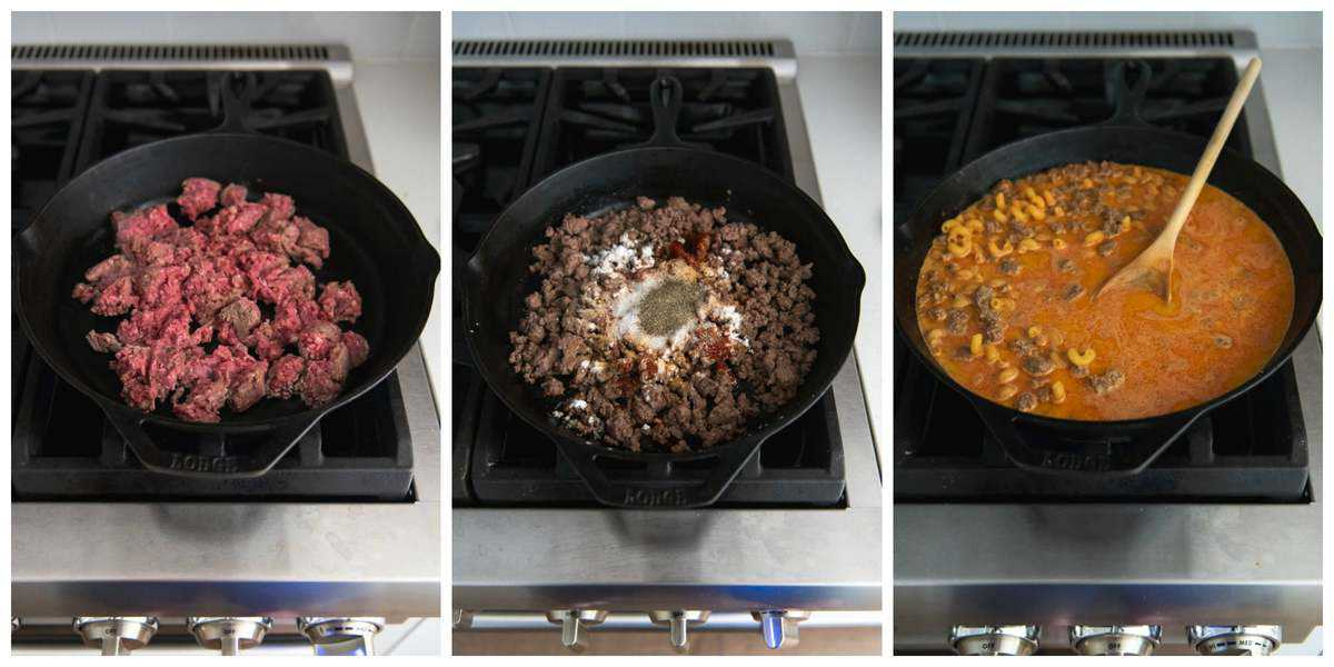 An collage of step-by-step images for making homemade hamburger helper from scratch on the stovetop.