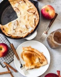 Fluffy German Apple Pancakes with Cider Syrup are perfect for a fall weekend and are a great way to change up the traditional German pancake recipe, also known as a Dutch baby.