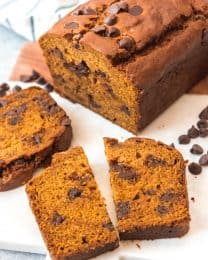 This Chocolate Chip Pumpkin Bread is easy to make from scratch and so delicious.  Studded with melted chocolate chips, this rich pumpkin spice bread is one of our favorite Fall treats!