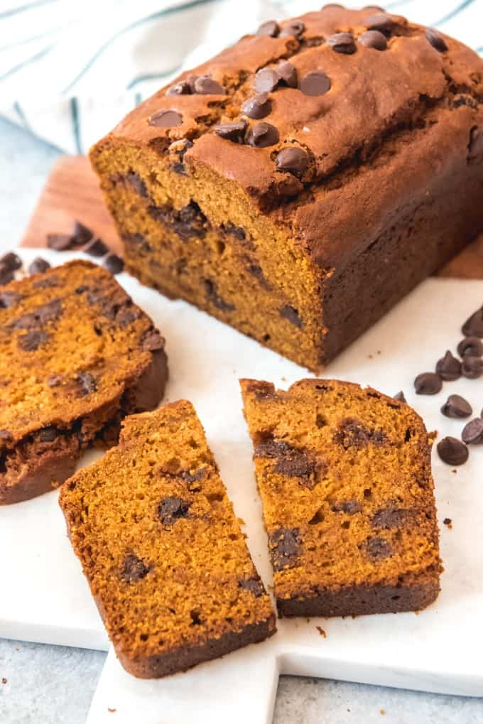 a sliced loaf of Chocolate Chip Pumpkin Bread