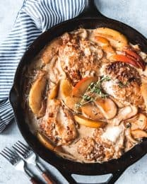 This Creamy Apple Cider Chicken Skillet is an easy, delicious Fall dinner with sweet and savory flavors.  We loved this served with mashed red potatoes with the easy pan sauce spooned over the top.