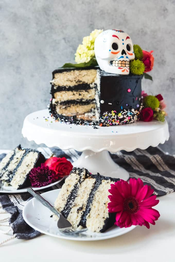 Day of the Dead Black Buttercream Cake