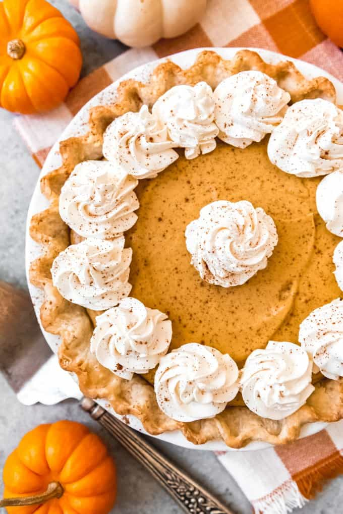 aerial view of pumpkin chiffon pie with whipped cream decor and sprinkled with cinnamon