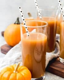 This easy homemade Harry Potter inspired Pumpkin Juice is the most popular non-alcoholic beverage in the wizarding world and it's a must for the Fall season!  Made with real pumpkin, apple cider, and warm and cozy spices for a delicious drink that is sure to delight wizards, witches, and muggles alike!
