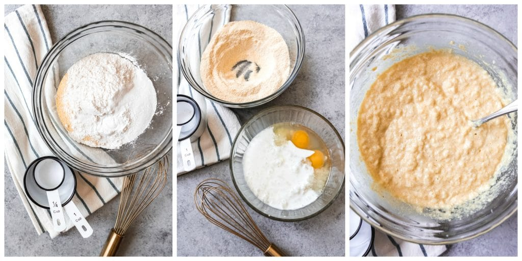 A collage of step-by-step pictures showing how to make Southern hush puppies by mixing dry ingredients, then adding wet ingredients to create a cornmeal batter.