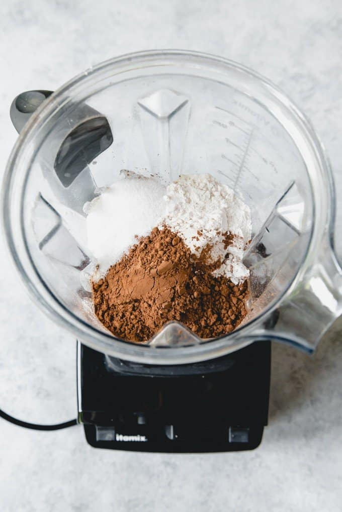 An image of the ingredients for chocolate crepes in a vitamix blender.