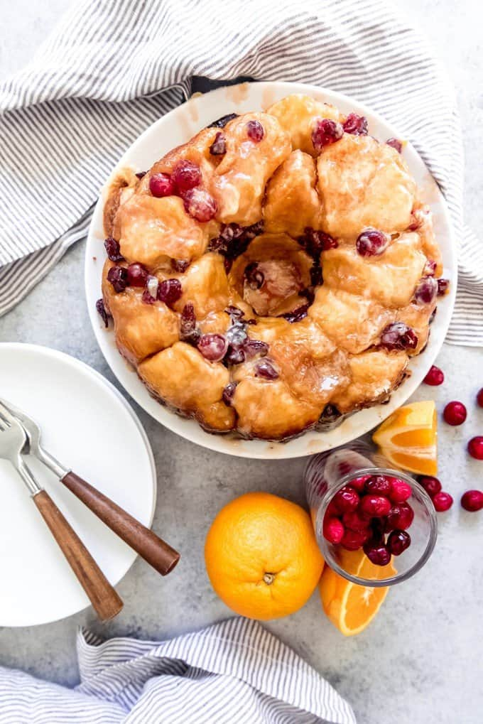 An image of an American breakfast treat sometimes called a golden crown but more often known as pull apart bread or monkey bread, this one with cranberries and orange zest for a Christmas breakfast.