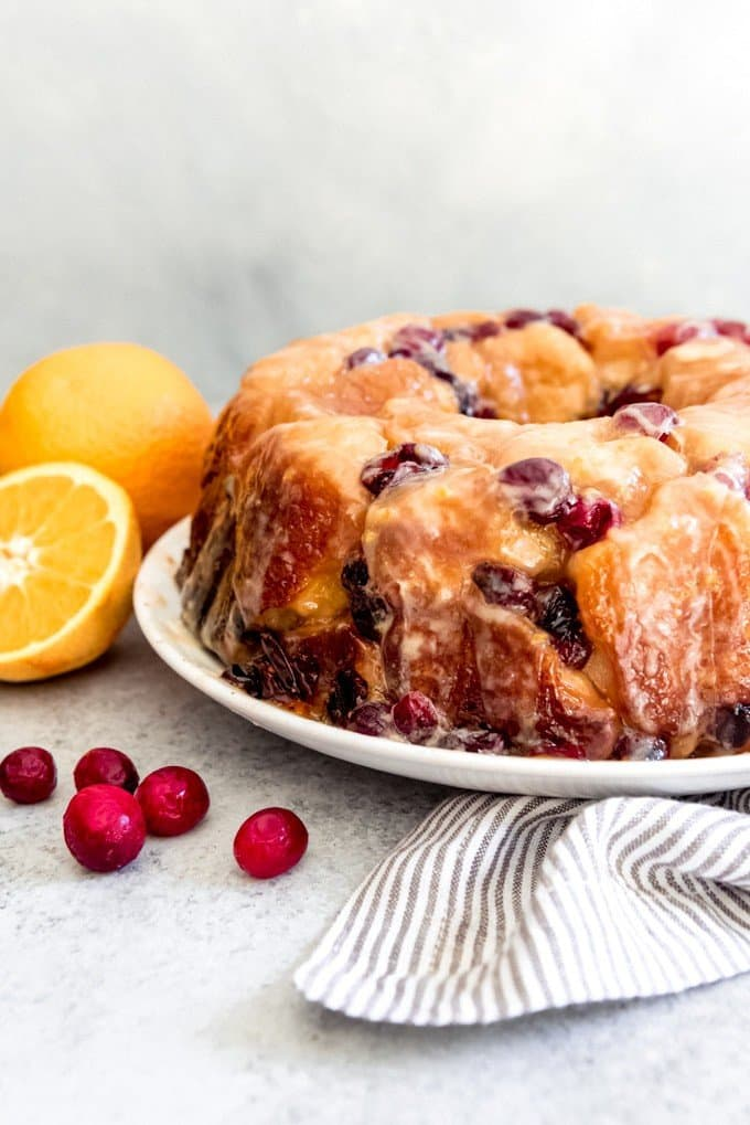 An easy overnight monkey bread is made festive with the addition of fresh cranberries and orange zest instead of the classic caramel pecan version.