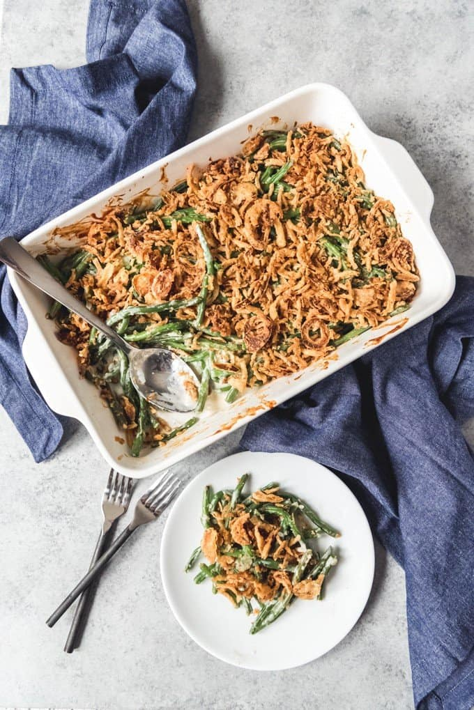 An image of a baking dish of fresh green bean casserole made without any canned ingredients.