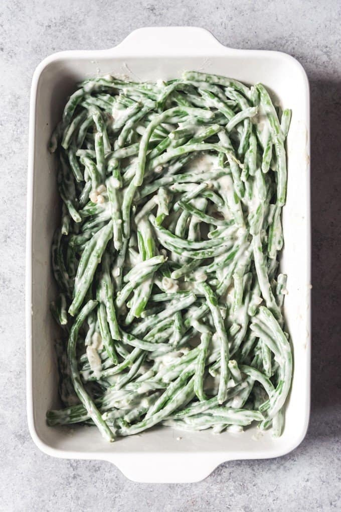 An image of make-ahead green bean casserole before adding the breadcrumbs and fried onions on top.