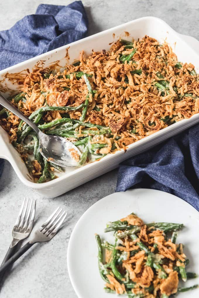 An image of a traditional Thanksgiving side dish, Campbell's green bean casserole, except made without any canned ingredients.