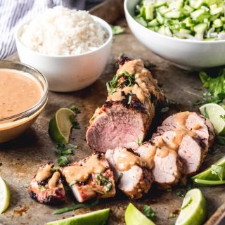 Grilled Thai Pork Tenderloin with Coconut Lime Peanut Sauce