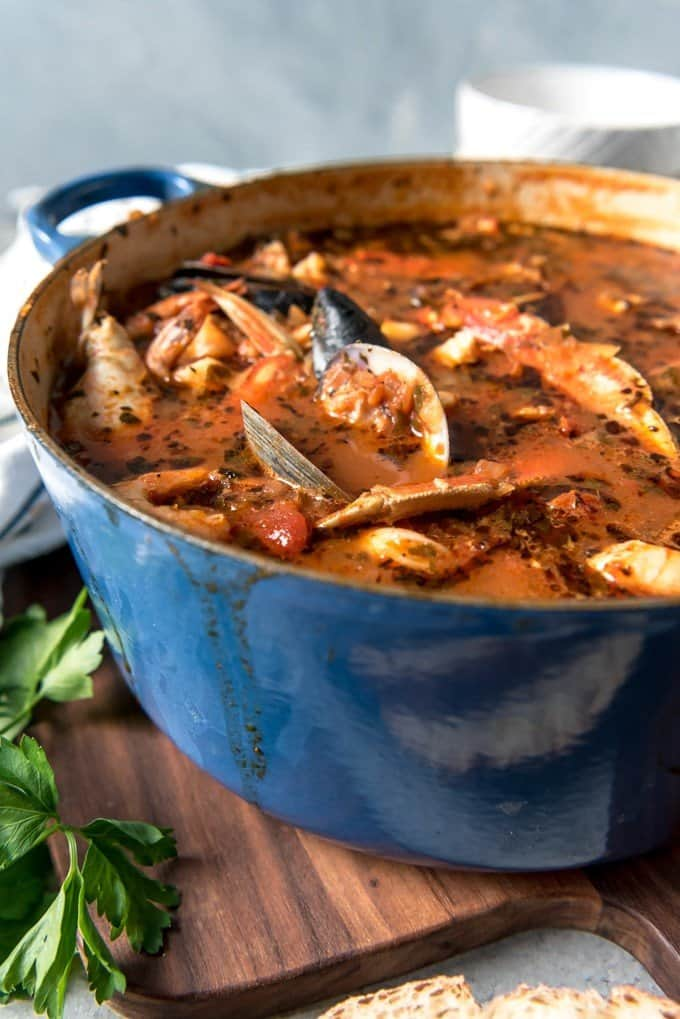 Considered by many to be the signature dish of San Francisco, Cioppino is a wonderful seafood stew that is perfect for entertaining and holidays.  Serve this with crusty sourdough bread to sop up all the delicious broth for a truly Californian dining experience!