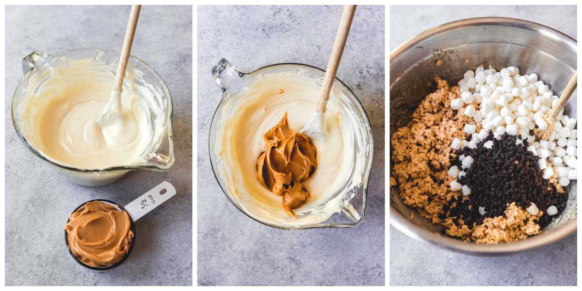 A step-by-step collage of how to make copycat Rocky Mountain Chocolate Factory Avalanche Bars.