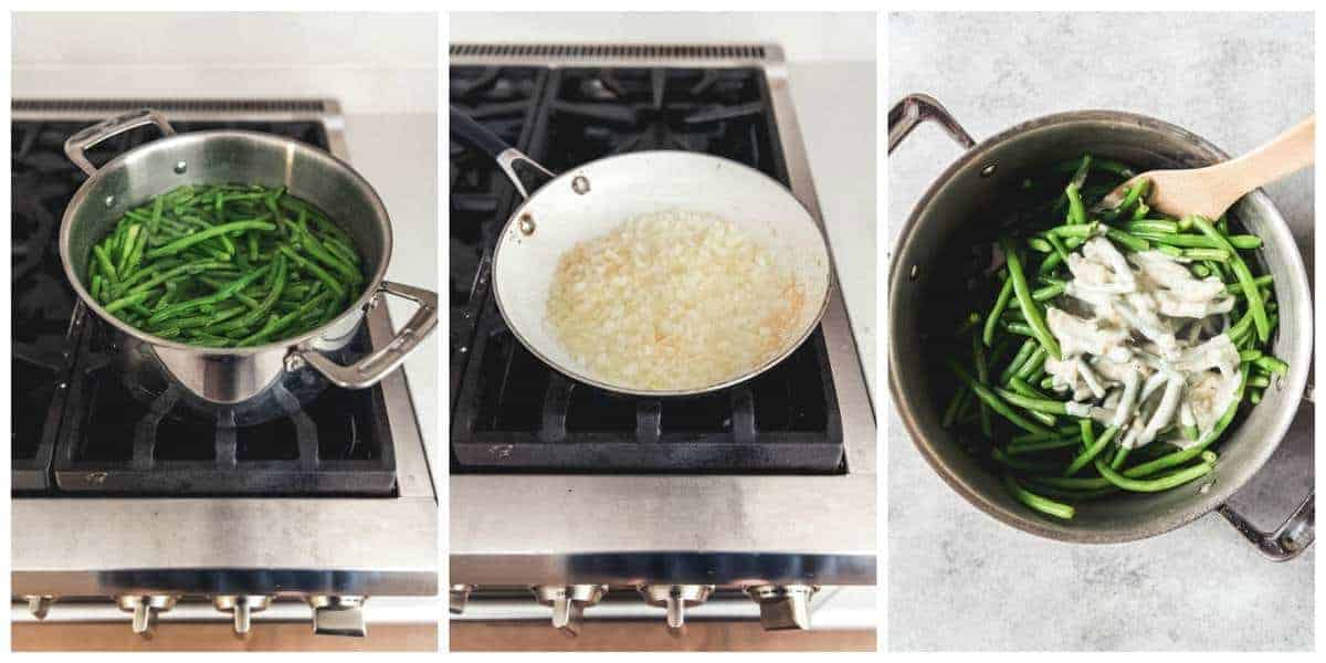A collage of step-by-step images for how to make fresh green bean casserole from scratch.
