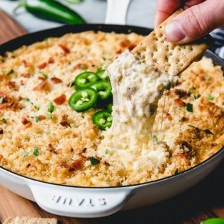 This creamy, cheesy Jalapeno Popper Dip with Bacon is the ultimate appetizer indulgence!  So warm and comforting and perfect for parties!