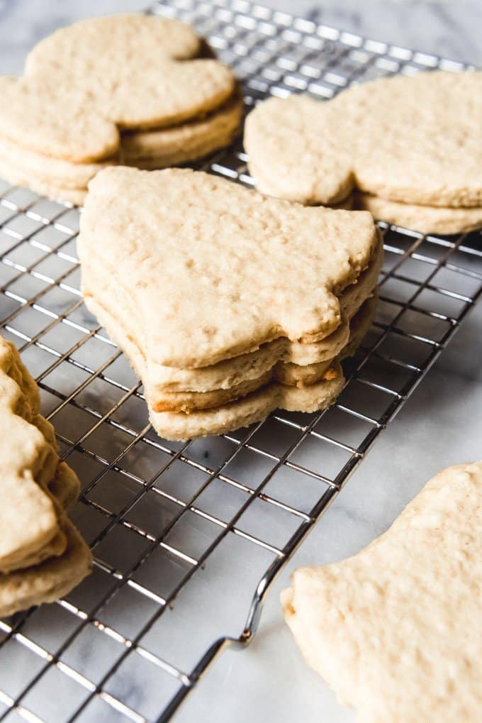 An image of chewy sugar cookies that hold their shape with oatmeal in them.