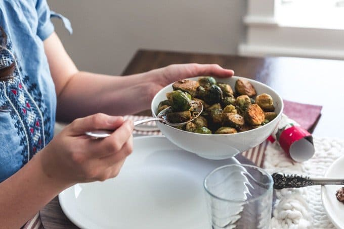 An image of a bowl of pastrami-spiced brussels sprouts.