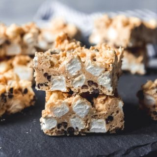 Rocky Mountain Avalanche Bars are part rice krispies treat, part peanut butter fudge, and part white chocolate bark.  These totally addicting bars are perfect for a holiday cookie platter or for an easy treat any time of the year!