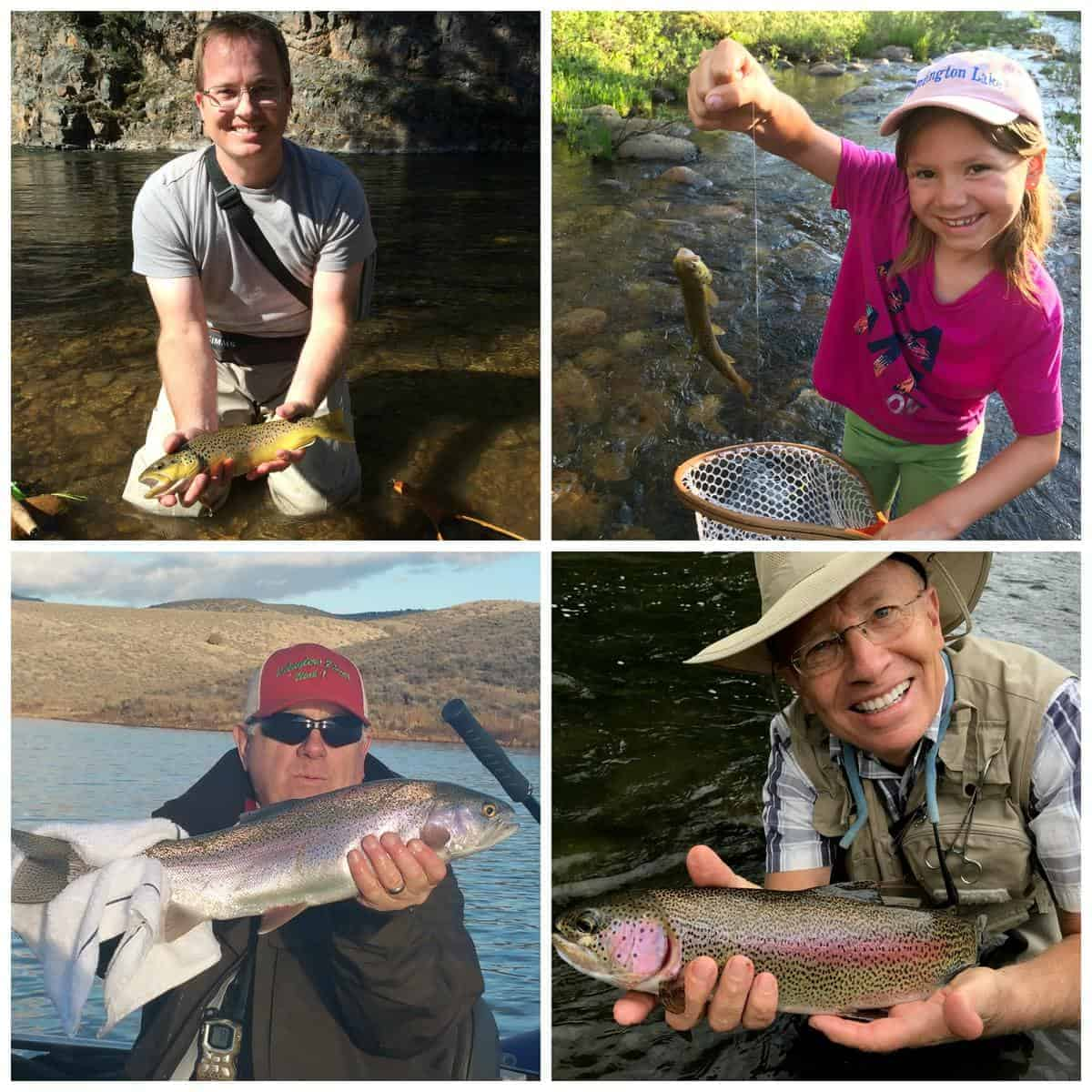 A collage of people holding rainbow trout that they caught while fishing.
