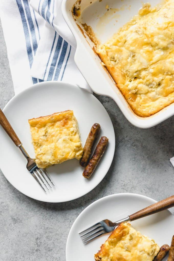 An image of a green chili egg casserole that can be made ahead for Christmas breakfast.