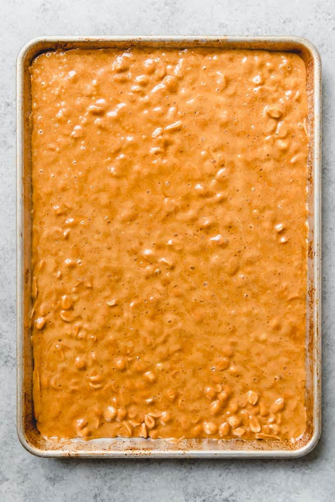 An image of a pan of peanut brittle before it has been broken up into pieces.