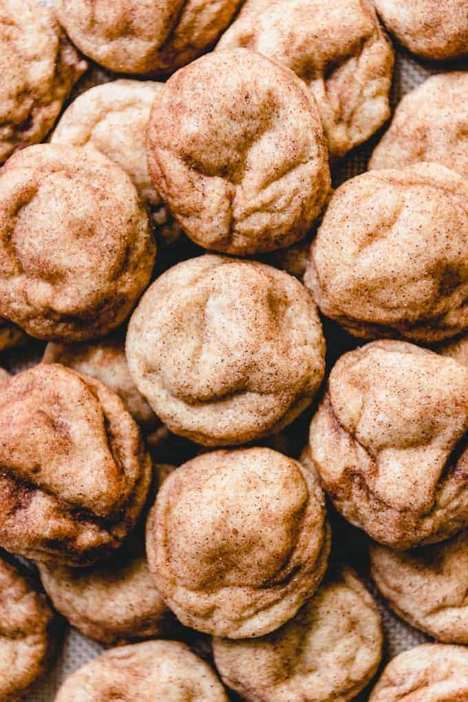 These soft and chewy snickerdoodle cookies are made with cream of tartar and covered in cinnamon and sugar.