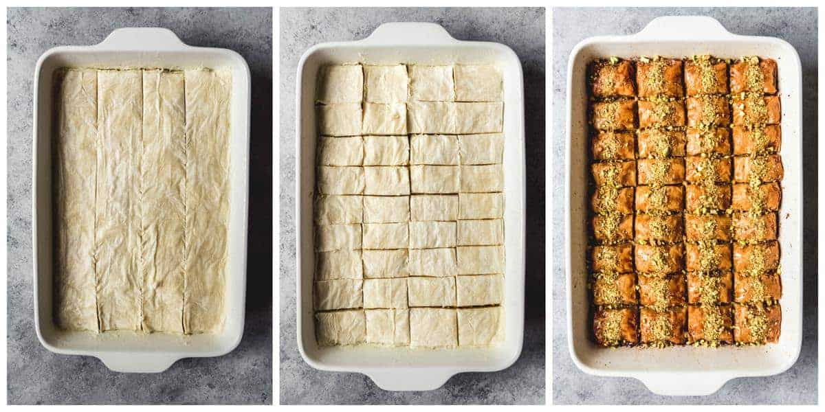 A step-by-step collage showing how to cut baklava.
