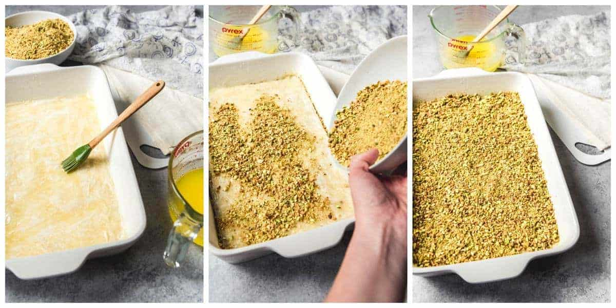 A step-by-step photo collage showing how to assemble Turkish baklava.