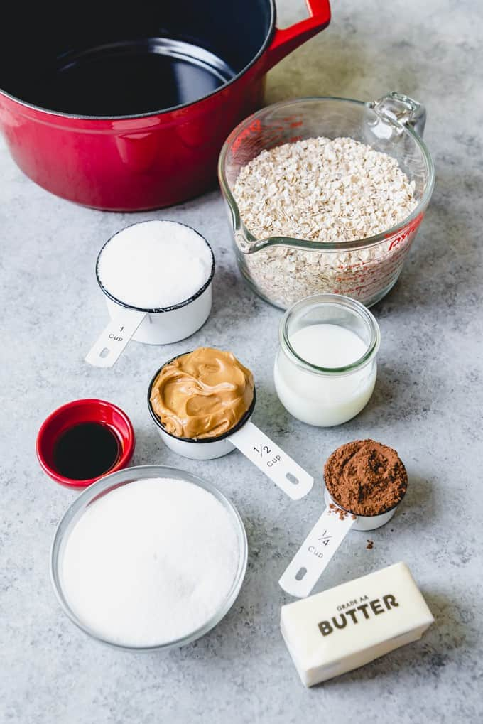 An image of the ingredients for classic no bake cookies.
