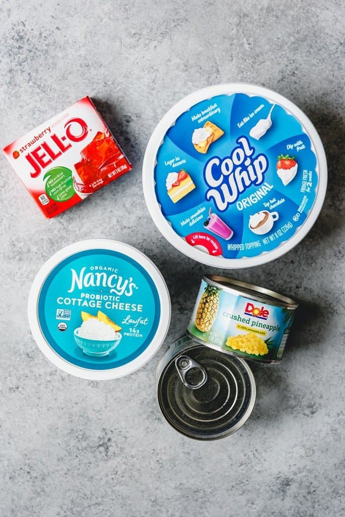 An image of the ingredients for making cool, creamy cottage cheese jello salad.