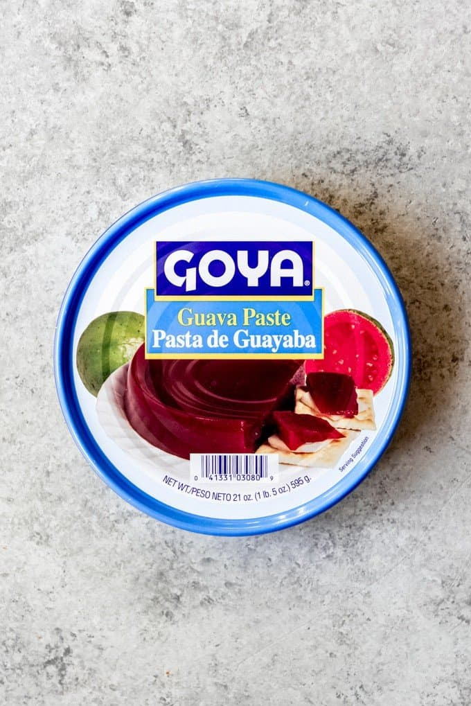 An image of a container of Goya brand guava pasta, also known as pasta de guayaba.
