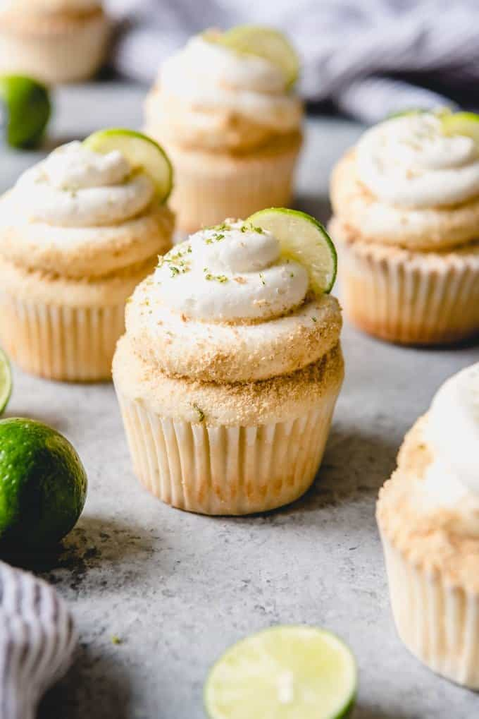 Key lime cupcakes with key lime frosting and graham cracker crumbs are like key lime pie but in cake form.