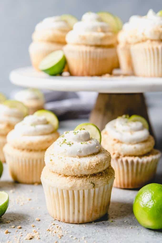 An image of fluffy, moist lime cupcakes from scratch decorated with homemade key lime frosting.