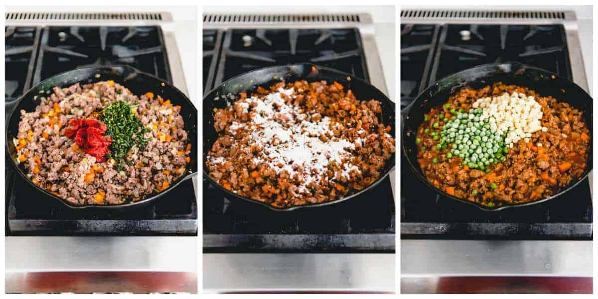 An image of the steps for how to make Irish shepherd's pie with lamb for St. Patrick's Day.