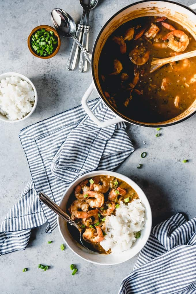 An image of classic Cajun comfort food - shrimp etouffee.