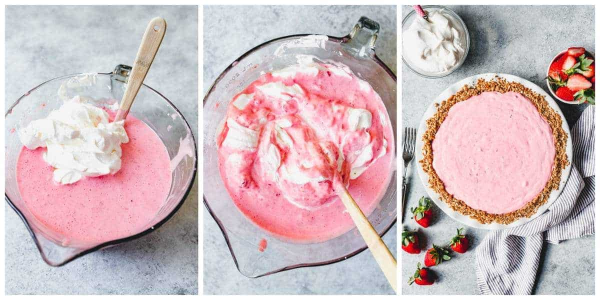 A collage showing step-by-step pictures for making a strawberry pretzel icebox pie.
