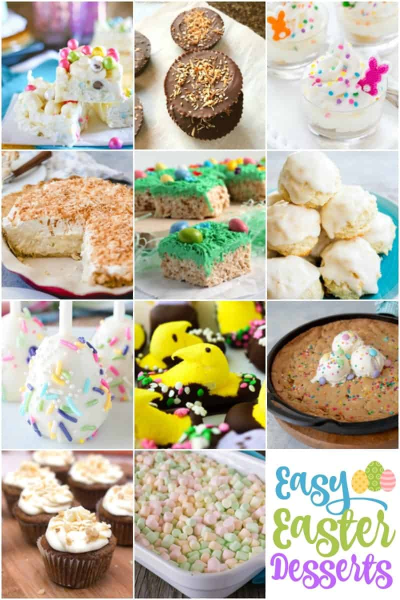 A collage of images of easy Easter desserts.