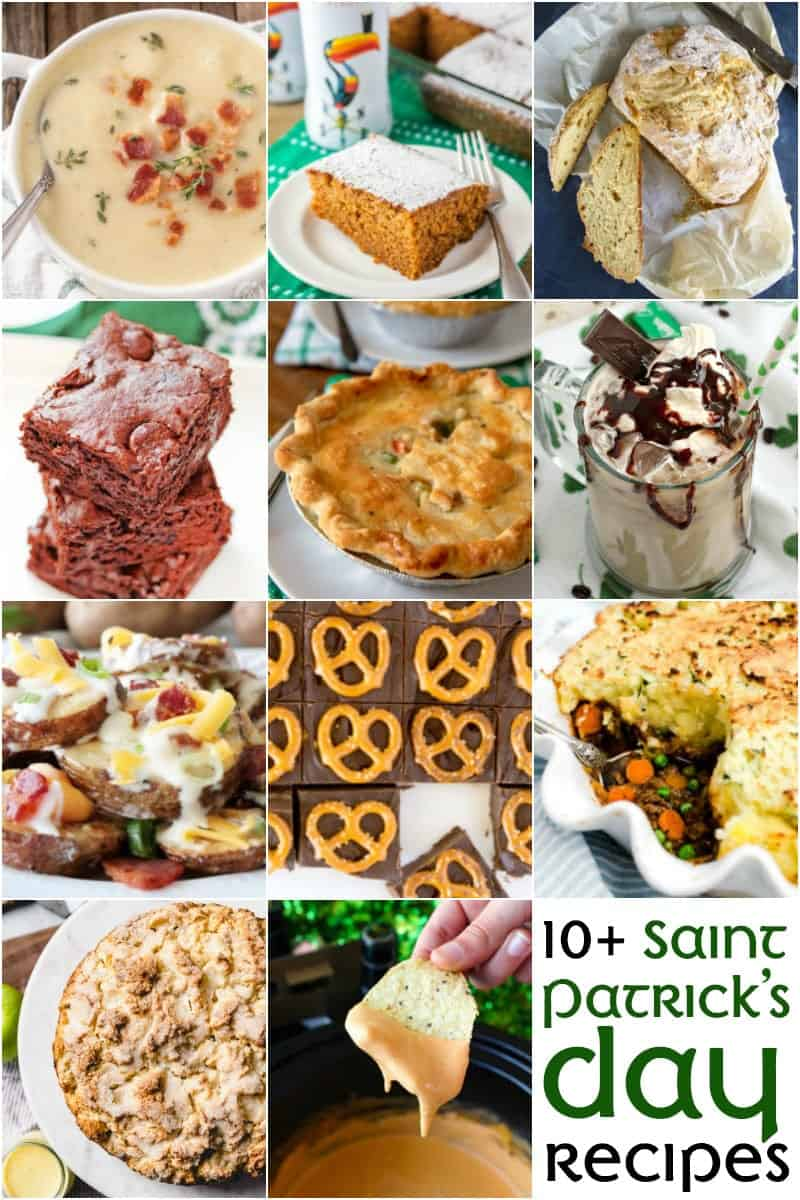 An image of a collage of more than 10 St. Patrick's Day recipes to celebrate with.